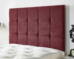 Premium Upholstered Cubes Buttoned Wall or Divan Bed Linen Fabric Headboard