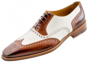 Handmade Men's Genuine Two Tone Leather Oxford Lace Up Wingtip Shoes US673