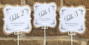 Personalised Vintage Wedding Table Numbers, Table Numbers, Seating Numbers