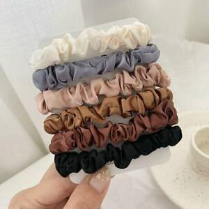 6PCS Fashion Hair Bands Silk Satin Scrunchie Hair Ties Ponytail Holder Ropes