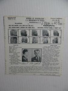 1933 FBI Wanted Poster Basil Banghart Chicago Roger Touhy Gangster John Factor