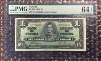 1937 $1 Canada Banknote BC-21d Coyne | Towers PMG 64 EPQ S/N S/N 0736003