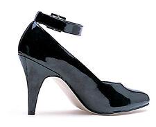 """Black Pumps D Width Wide 4"""" Heel """"D"""" Width Ankle Strap Larger Sizes 10-16 8241-D"""