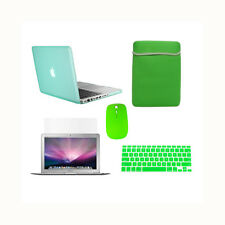 """5 in1 Rubberized Green Case for Macbook Pro 15"""" Retina+Key Cover+Lcd+ Bag+ Mouse"""