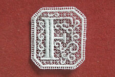 Oblong letter/initial F - sew-on lace motif/applique/patch/craft/card making