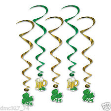5 ST PATRICK'S DAY Party Decoration SHAMROCK & BEER PINTS Hanging WHIRLS Swirls