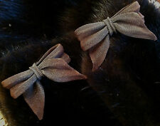 Woven Copper/Gray Bow Pierced Earrings! Sarah Cavender MetalWorks Artisan Hand