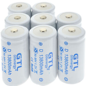 2-8x 1.2V Ni-MH C Size Rechargeable Batteries Battery High Capacity 13800mAh