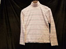 b6a0ad899f6319 WHITE STAG Women s Size S Ivory Turtleneck Sweater with Navy   Silver  Stripes