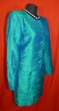 Monsoon Womens Vintage Twilight Teal Green Silk Short Skirt Jacket Suit Sz 10/12