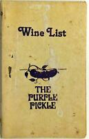 The Purple Pickle Original Vintage Restaurant Wine List Menu