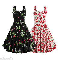 Retro Vintage 50's Rockabilly Swing Ladies Party Prom Cherry Plus Size Dress