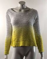 ana Womens Sweater Size Medium White Yellow Dip Dye Ombre Open Knit Pullover Top