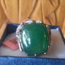 Green Agate, Austrian Crystal Ring in 316L Stainless Steel-Size 11