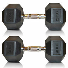 Sporteq Hex Dumbbells Rubber Encased Ergo Weights Sets Hexagonal Dumbbell Gym 2 ✭ 20 Kg (pair)