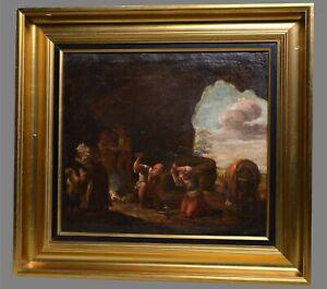 attr. Flemish Jan Miel Road scene Forging Horseshoe Antique 17C Old Master Oil