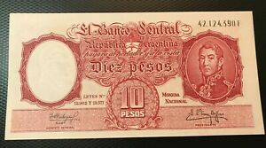 1954-1963 (ND) ARGENTINA 10 PESOS NOTE NICE UNCIRCULATED