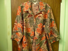TANJAY WOMENS BUTTON UP SIZE 16 3/4 QUARTER SLEEVE FLORAL PRINT SHIRT