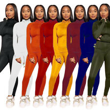 New Women Solid Mock Neck Zipper Long Sleeves Casual Sport Club Jumpsuit 2pcs