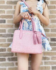Kate Spade Rowe Summer Tweed Small Top Zip Satchel Crossbody Pink Multi Leather