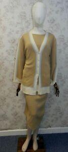 ESCADA Wool/Cashmere Blend Beige 3 Piece Suit Set Blue Detail Size 40 UK Size 12