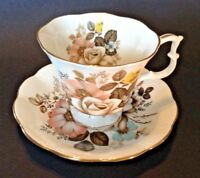 Royal Albert Pedestal Teacup And Saucer - Pastel Roses And Nasturtiums - England