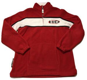 Harley Davidson Red Fleece Sweater White Stripe 1/4 Zip Embroidered Logo Women M