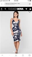 """Fashion Nova """" Welcome To Hawaii"""" Dress. Size Large. Navy Floral. New With Tags."""