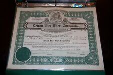 Detroit Wire Wheel Corporation  Detroit MI STOCK CERTIFICATE Rare! 1920