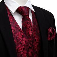 Mens Paisley Dress Vest Tie Set Red Burgundy Waistcoat Necktie Hanky Slim Fit