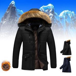 WINTER MEN JACKET HOODED FUR COLLAR THICK PARKA COAT VELVET LINING WARM COAT