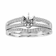 14k White Gold Princess Diamond Bridal Wedding Engagement Ring Set
