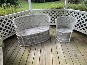 Vintage White Rattan Wicker Loveseat Settee and Chair Set Patio Furniture