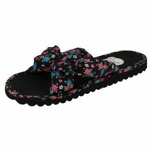 Ladies Spot On Floral Fabric Lightweight Slip On Summer Flip Flops : Sylvia