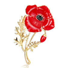 New Poppy Badges Vintage Enamel Brooch Gold Red Enamel Crystal Pin Poppys Broach