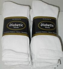 DIABETIC SOCKS 6 PAIR WHITE CREW SIZE 10/13  NON- BINDING TOP ( MADE IN U.S.A.)