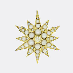 Victorian Diamond and Pearl Star Pendant Brooch 15ct Yellow Gold