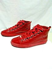BALENCIAGA Arena Red Burgundy Leather Hi Top Sneakers Mens 44 EU / 11-1/2 US