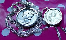 """Silver High Grade Rare Mercury Dime Pendant 28"""" 925 Silver Wavy Chain"""