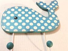 Blue/White Polka Dot Whale Wood Plaque With 2 Knobbed Hooks