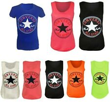 LADIES WOMEN'S CONVERSE PRINT PRINTED VEST TOP SUMMER LIGHT WEIGHT T-SHIRT