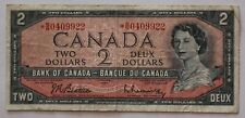 1954 Canada $2 Two Dollar Replacement Bill; *BB0409922 Circulated.