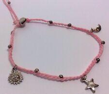 Pink String Macrame Charm Large Mans Ladies Anklet Bracelet Sun Star Bell Surfer