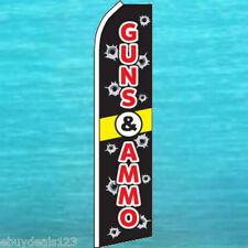 GUNS & AMMO FLUTTER FLAG Tall Advertising Sign Feather Swooper Banner 25-3089