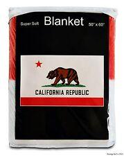 California State Flag Fleece Blanket NIB 5 ft x 4.2 ft. Californian Travel Throw