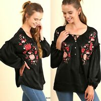 Umgee Top Size XL S M L Floral Black Embroidered Tunic Womens Boutique Shirt New
