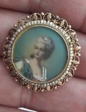 Portrait Brooch Pendant With Seed Pearls. Victorian 14K Gold Hand Pianted Woman