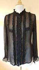 Miss Selfridge black sheer high neck blouse Size 16