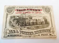 INSANELY RARE FRED LAUER BEER - BREWING READING PA 1876 PHILA EXPO TRADE CARD