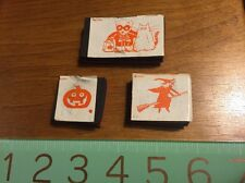 Vintage Halloween Scary Trick Treat Witch Wood Rubber Stamp Embossing Pumpkin
